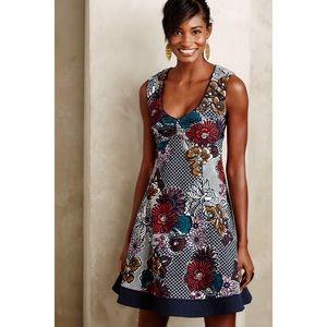 Anthropologie Maeve Floral Fit Flare Keyhole Dress